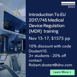 DNV - Introduction to EU 2017/745 Medical Device Regulation (MDR) training - Nov 15-17