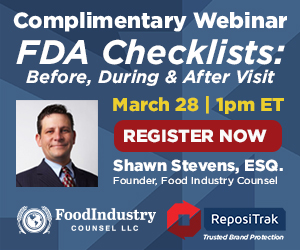Repositrak - Complimentary Webinar - FDA Checklists - March 28, 2017 1:00pm ET