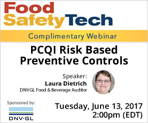 Complimentary Webinar - PCQI Risk Based Preventative Controls - June 13, 2017 - 2:00pm EDT - Sponsored by DNV-GL