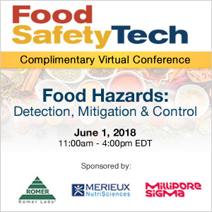 Food Hazards: Detection, Mitigation & Control - June 1, 2018 - 11:00am - 4:00pm