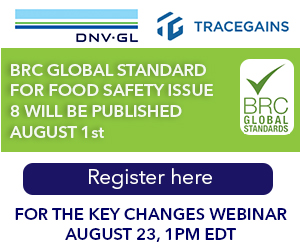 DNV-GL - BRC Global Standard For Food Safety Issue 8 will be Published August 1st.