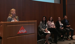 Trish Wester, chair of The Association of Food Safety Auditing Professionals, leads an FDA panel discussion about the Third-Party Certification Program.